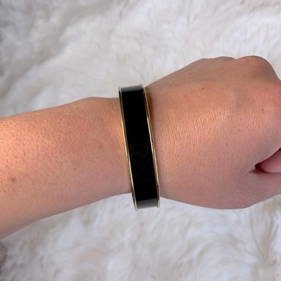 Monet black enamel & gold bangle bracelet